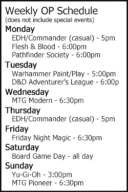 Weekly organized play schedule